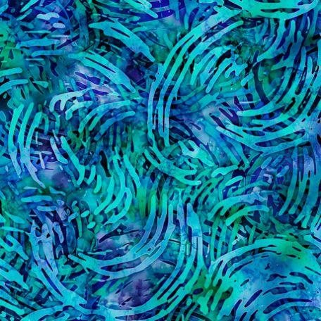 Tissu imprimé spirales turquoises - Tropicalia