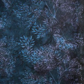 Tissu Batik fleurs et papillons fond bleu nuit