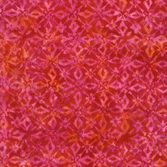 Tissu batik motif géométrique ton sur ton rouge