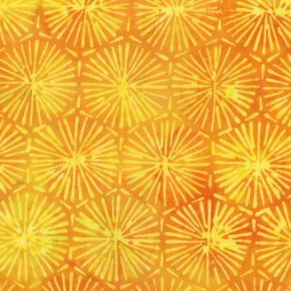 Tissu batik feux d'artifice jaune ton sur ton