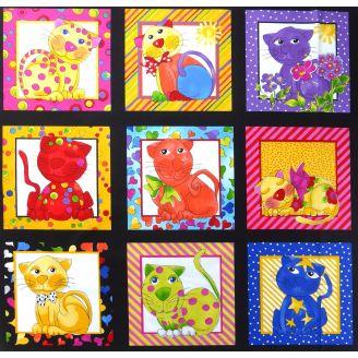 Panneau de tissu patchwork chats fond noir - Cat Happy