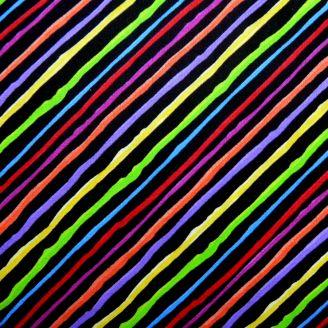 Tissu patchwork rayures multicolores fond noir - Cat Happy