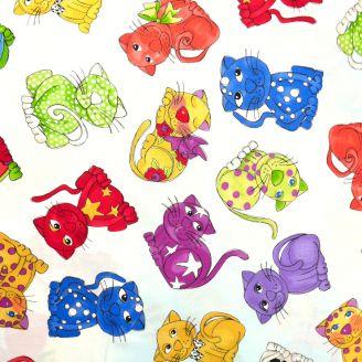 Tissu patchwork chats fond blanc - Cat Happy