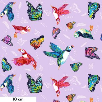 Tissu patchwork papillons et macareux en vol fond rose mauve - Migration