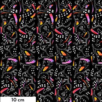 Tissu patchwork papillons monarque stylisés fond noir - Migration