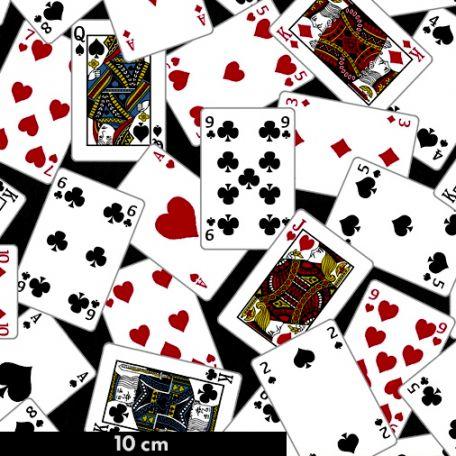 Tissu patchwork cartes à jouer fond noir