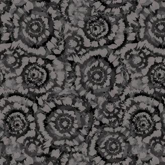 Tissu patchwork grande largeur tourbillons noir et gris (270 cm)