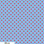 Tissu patchwork Tula Pink pois rouges fond bleu TP118