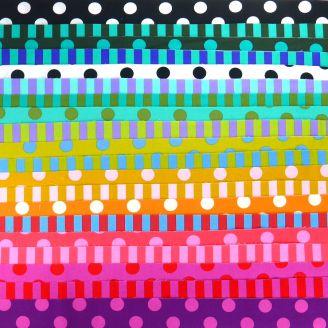Joli roll de tissus patchwork à pois et rayures Tula Pink