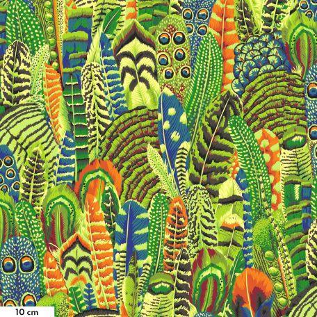 Tissu Philip Jacobs plumes vert lime PJ055