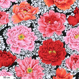 Tissu patchwork Philip Jacobs Brocade Peony pivoines roses fond noir PJ062