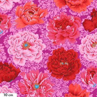 Tissu patchwork Philip Jacobs Brocade Peony pivoines fond fuchsia PJ062
