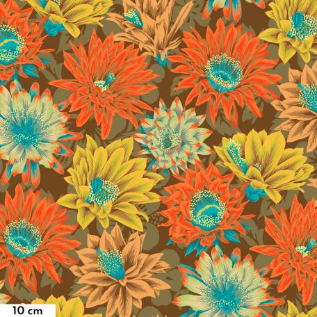 Tissu patchwork Philip Jacobs Fleur de Cactus PJ096 brun