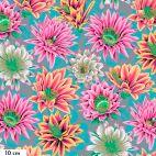 Tissu patchwork Philip Jacobs Fleur de Cactus PJ096 rose et turquoise