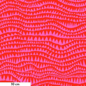Tissu patchwork Brandon Mably rouge et rose Dents de requins BM060