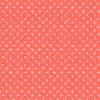 Tissu patchwork étoilé fond corail - Prickly Pear