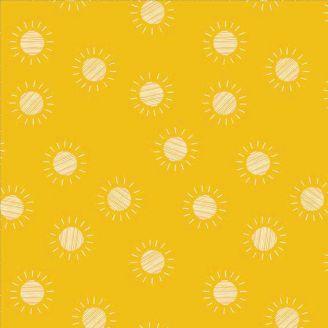 Tissu patchwork soleil fond jaune - Prickly Pear