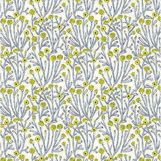 Tissu patchwork fleurs des champs bleues et jaunes - Prickly Pear