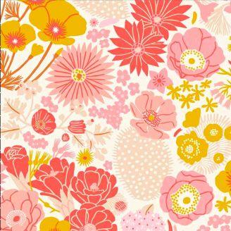 Tissu patchwork variété de fleurs roses et jaunes - Prickly Pear