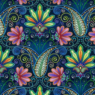 Tissu patchwork médaillon cachemire multicolore fond marine - Blooming Paisleys