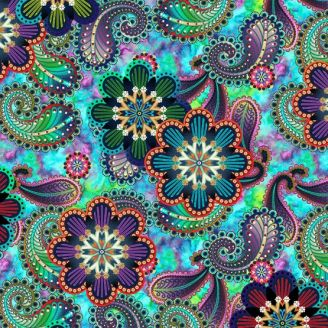 Tissu patchwork grandes fleurs cachemire fond bleu turquoise - Blooming Paisleys