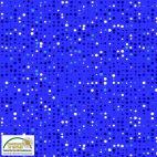 Tissu patchwork imprimé pois blanc et noir sur fond bleu électrique