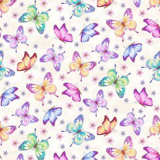 Tissu patchwork papillons multicolores fond crème - Gossamer Gardens