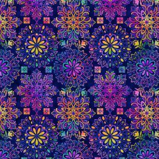 Tissu patchwork mandalas fond bleu royal - Gossamer Gardens