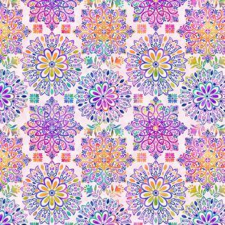 Tissu patchwork mandalas fond crème - Gossamer Gardens