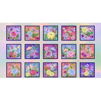 Panneau de tissu patchwork fleurs et papillons - Gossamer Gardens