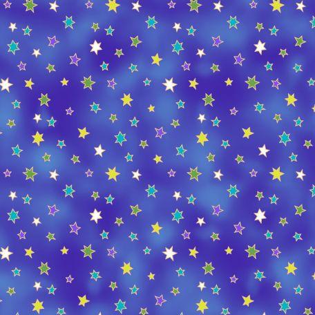 Tissu patchwork Laurel Burch étoiles fond bleu - Celestial Magic