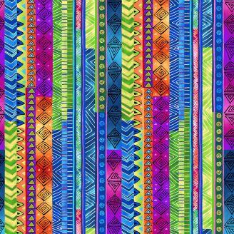 Tissu patchwork Laurel Burch frises fantaisie multicolores - Celestial Magic