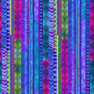 Tissu patchwork Laurel Burch rayures fantaisie bleu violet - Celestial Magic