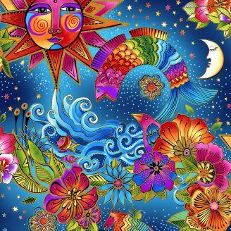 Tissu patchwork Laurel Burch Sous le soleil exactement - Celestial Magic