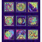Panneau de tissu patchwork Laurel Burch violet - Celestial Magic
