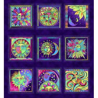Panneau de tissu patchwork Laurel Burch Celestial Magic violet - 55 x 60 cm