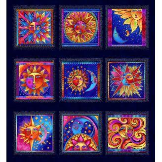 Panneau de tissu patchwork Laurel Burch Celestial Magic bleu marine - 55 x 60 cm