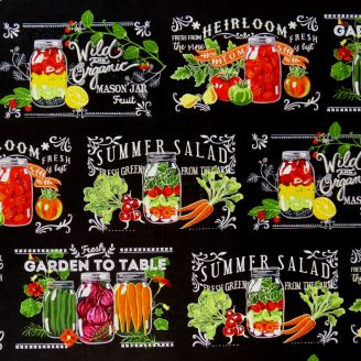 Tissu patchwork conserves de légumes fond noir - Garden to table