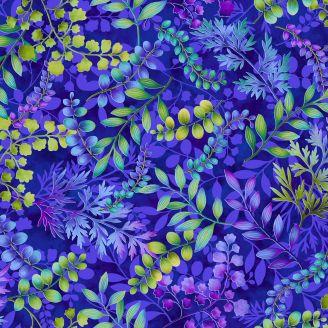 Tissu patchwork grands feuillages fond bleu roi - Gossamer Gardens