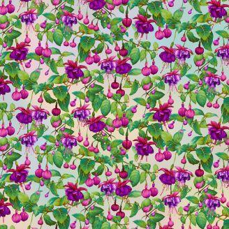 Tissu patchwork fleurs de fuchsia fond écru - Gossamer Gardens