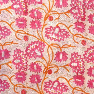 Voile de coton indien - fleur fuchsia orange fond beige rosé