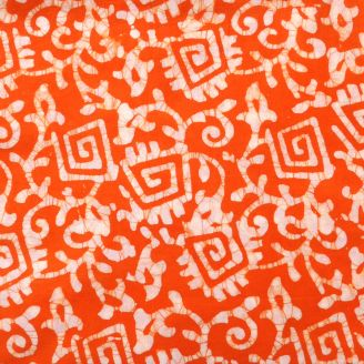 Voile de coton indien - motif stylisé blanc fond orange