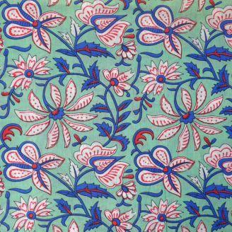 Voile de coton indien - fleur bleu blanc rouge fond menthe à l'eau