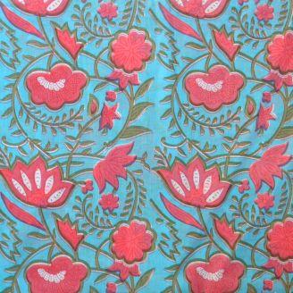Voile de coton indien - fleur grenadine fond bleu azur