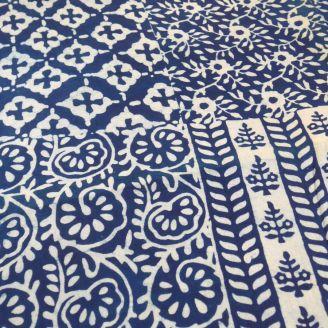 Voile de coton indien - 4 motifs indigo