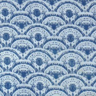 Voile de coton indien - motif écailles indigo