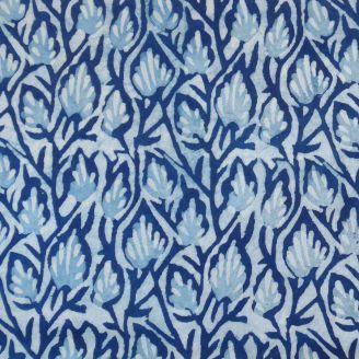 Voile de coton indien - arbuste bleu indigo