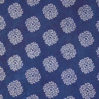 Voile de coton indien - dahlias fond indigo