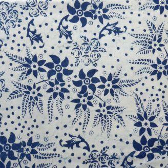 Voile de coton indien - fleur indigo fond écru