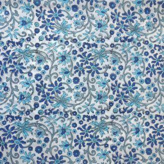 Voile de coton indien - fleurs turquoise et bleue fond blanc